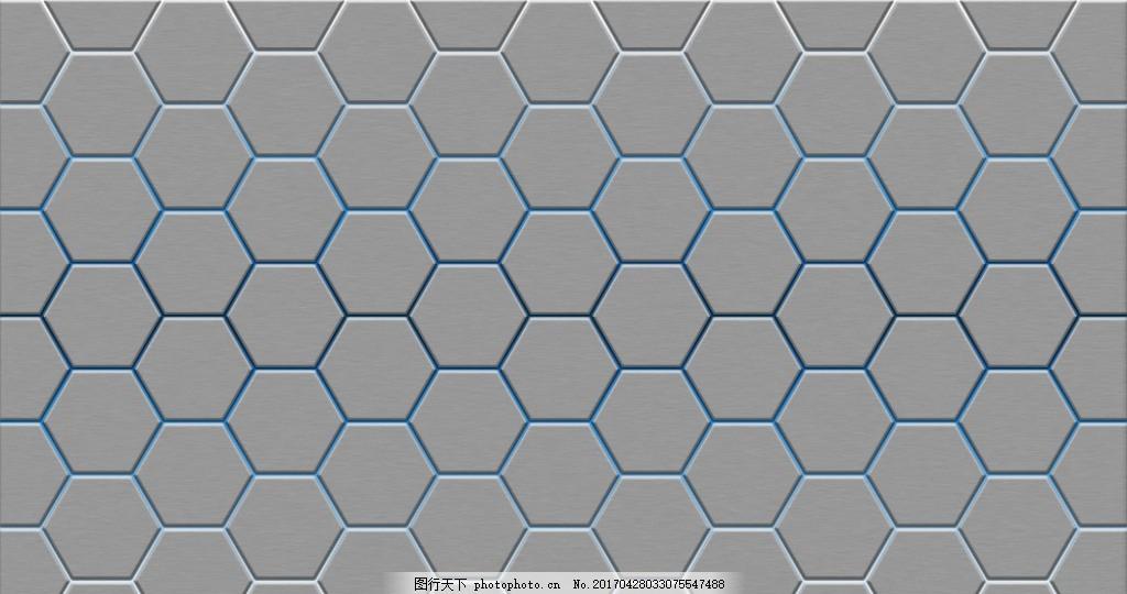 六角形 金属背景墙 创意金属 金属拉丝 科幻背景墙 电路板 科幻背景