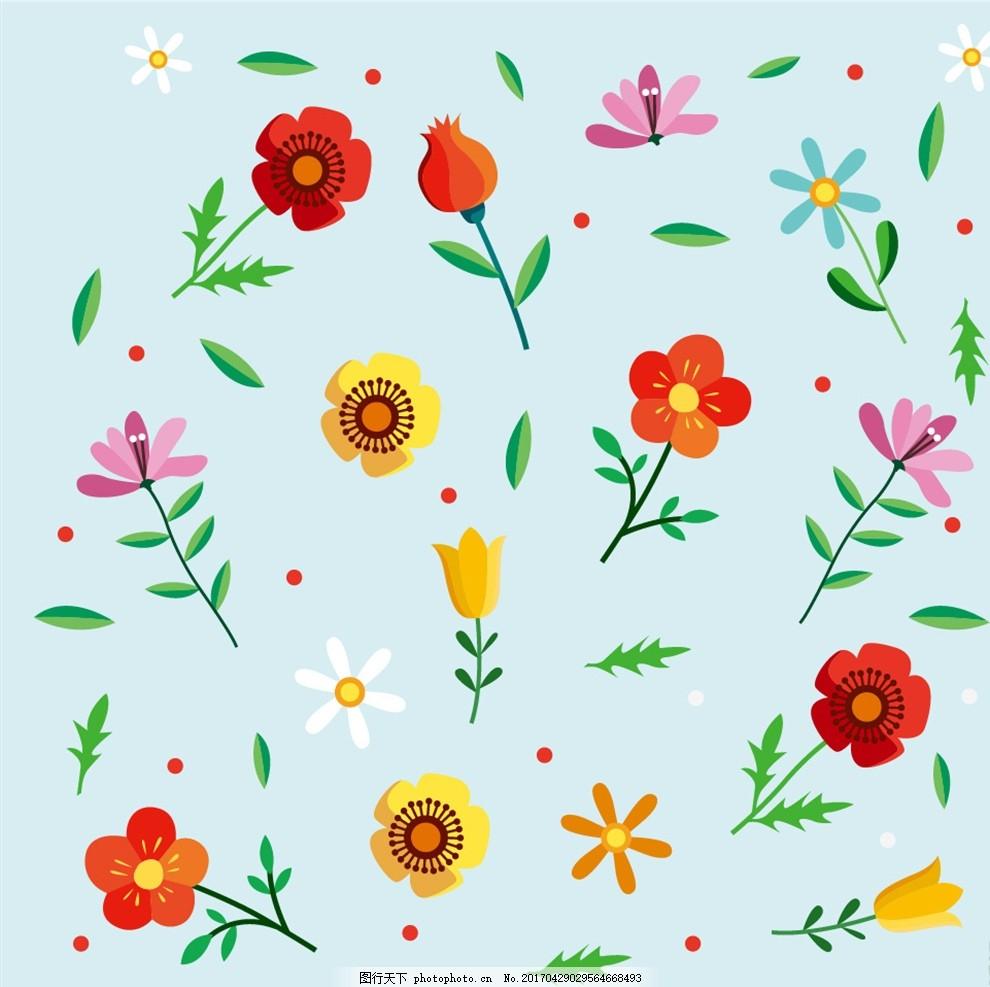 矢量小花朵底纹,花纹 小清新花朵 底纹边框 花边花纹