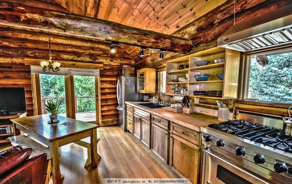 木房子 室内 摆设 装饰 吊灯 餐具 桌子 盆景 窗户 门窗 刀具 房子
