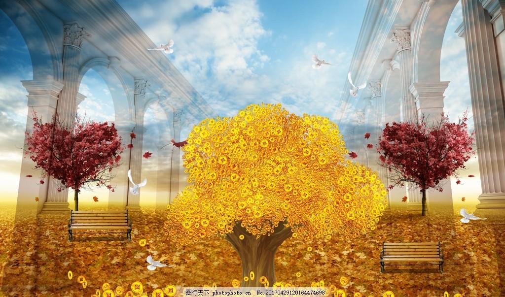 发财树爱心立体背景墙 爱心树 招财树 油画风景画 树林 唯美 罗马柱