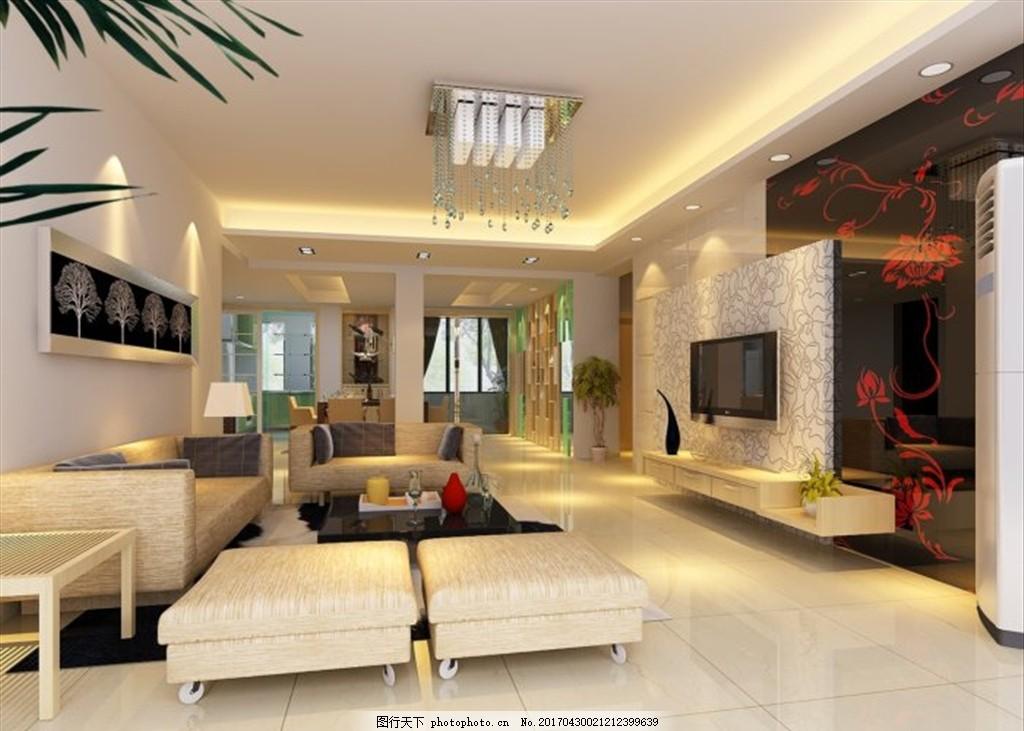 欧式装修 沙发模型 床模型 电视背景墙 现代风格 家居 灯光布置 装潢
