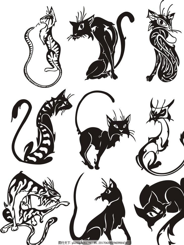纹身图 纹身 勾图 黑白 动物 猫 狐狸 豹 海报 设计 广告设计 logo