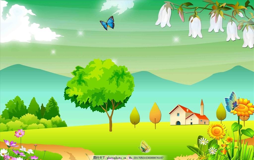 卡通背景 环保背景 绿色背景 蓝色背景 卡通展板背景 新年舞台背景图片