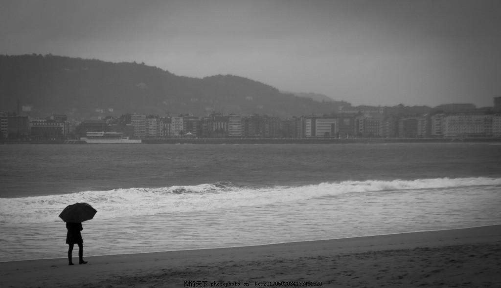 伤感意境海滩黑白 沙滩 海边 浪花 黑白伤感 意境图片 伤感风景