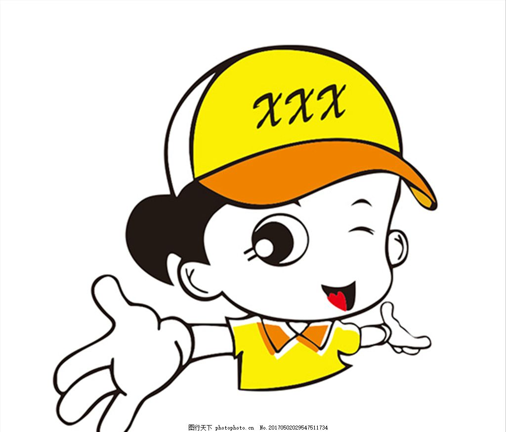 戴帽子的卡通女孩