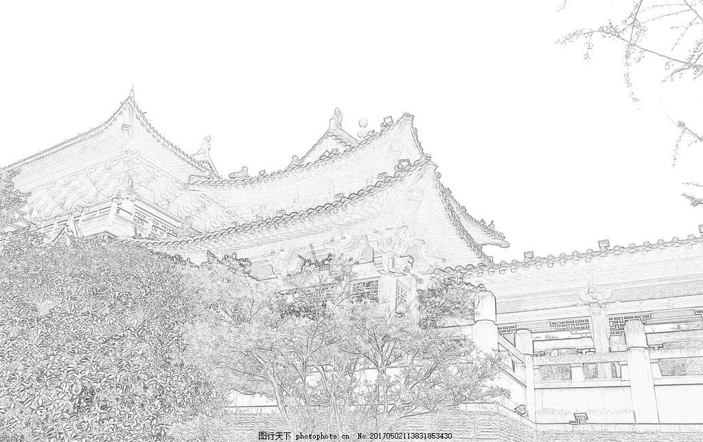 素描风景 素描背景墙 沙发背景墙 房屋 文化艺术 绘画书法