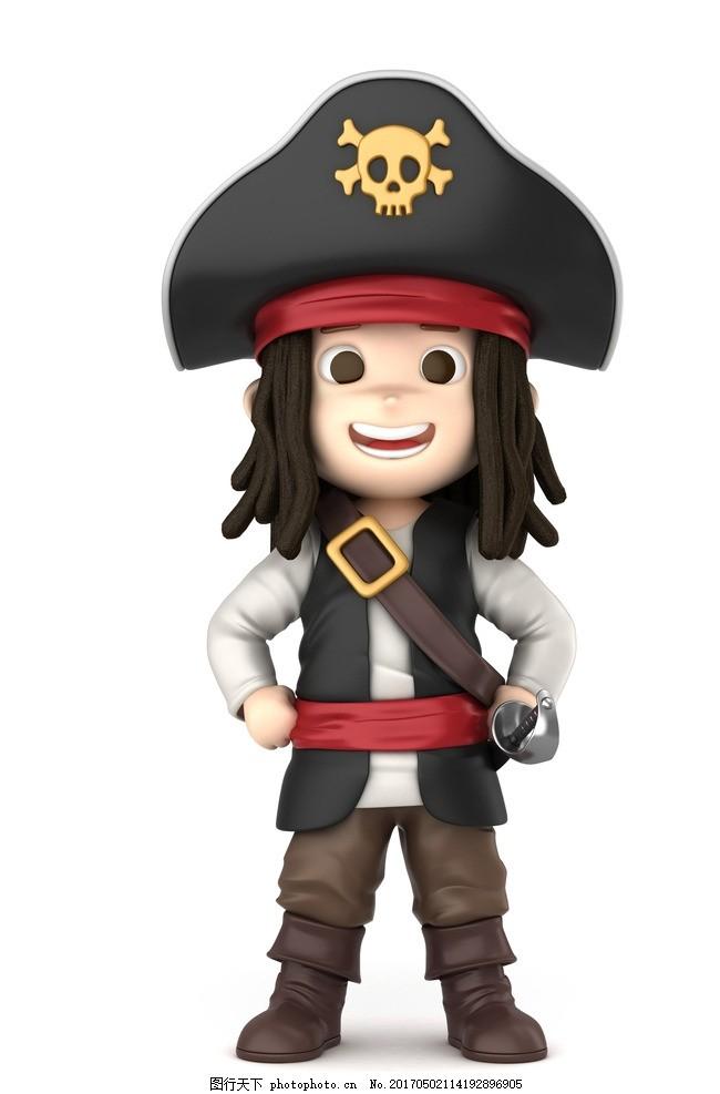 卡通 海盗 加勒比 立牌 高清 q版 笑脸 叉腰 可爱 设计 动漫动画 动漫