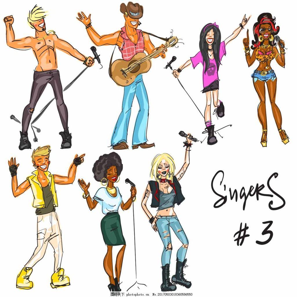 唱歌人物插画 手绘 音乐