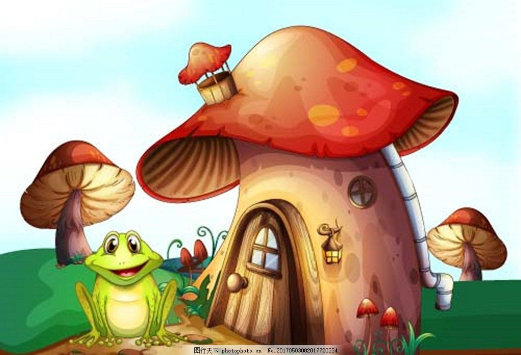 童话世界卡通蘑菇房子 卡通 可爱 eps 素材免费下载 矢量 插画 童话