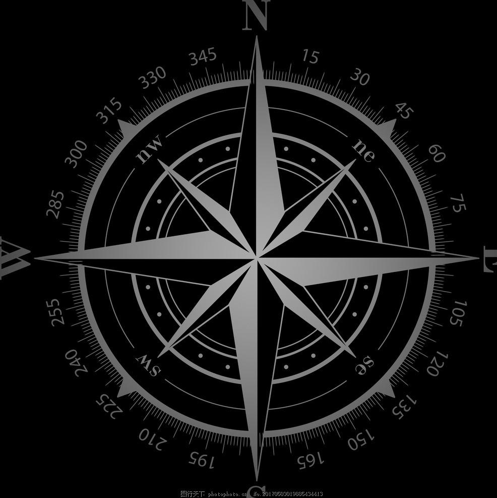 方向标 指北针 指南针 黑色 罗盘 星星 星盘 设计 标志图标 公共标识