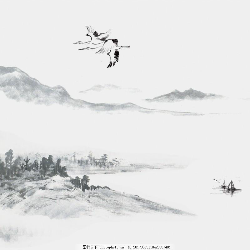 水墨中国风背景 山水 古典 手绘