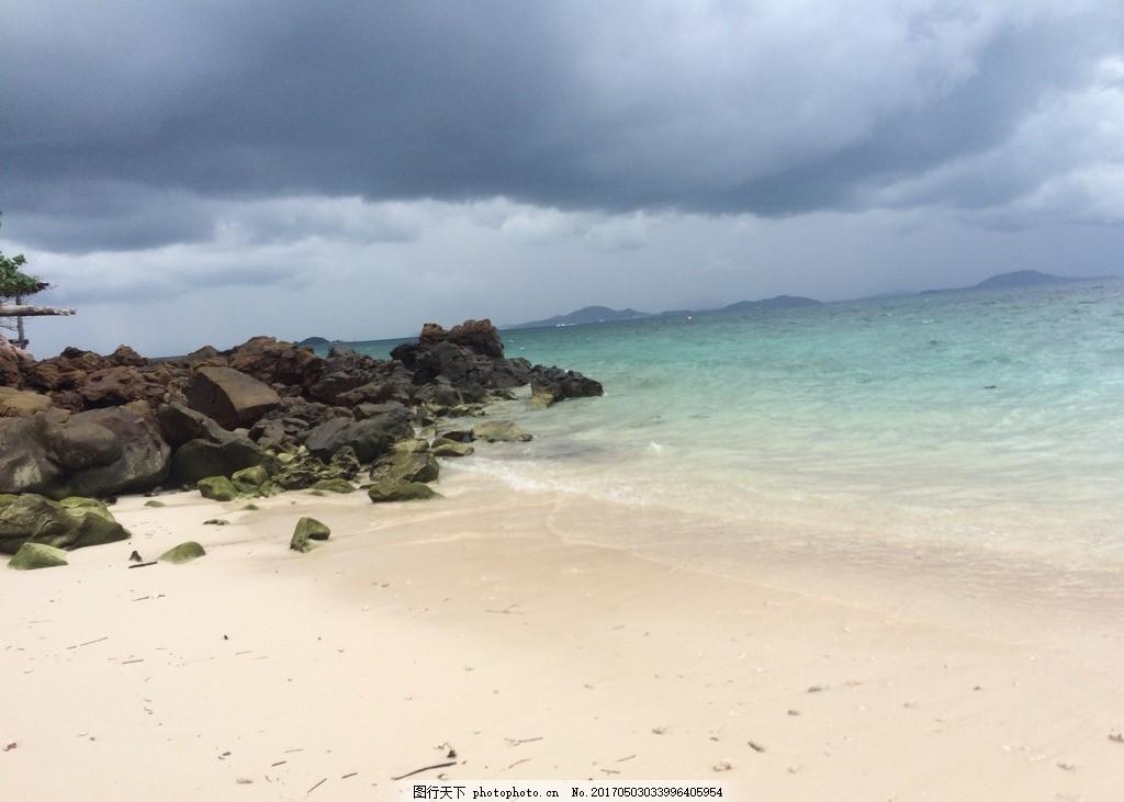 泰国普吉岛 大海 沙滩 海滩 礁石 乌云 暴风雨 泰国岛屿 摄影