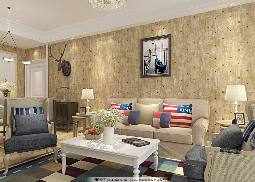 美式沙发背景墙效果图 墙纸 壁纸 复古图片