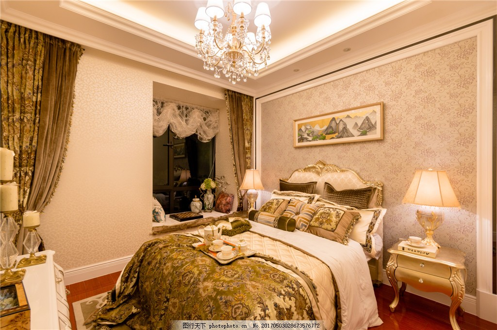 欧式时尚卧室装修效果图 室内设计 家装效果图 室内装修 家装实景图