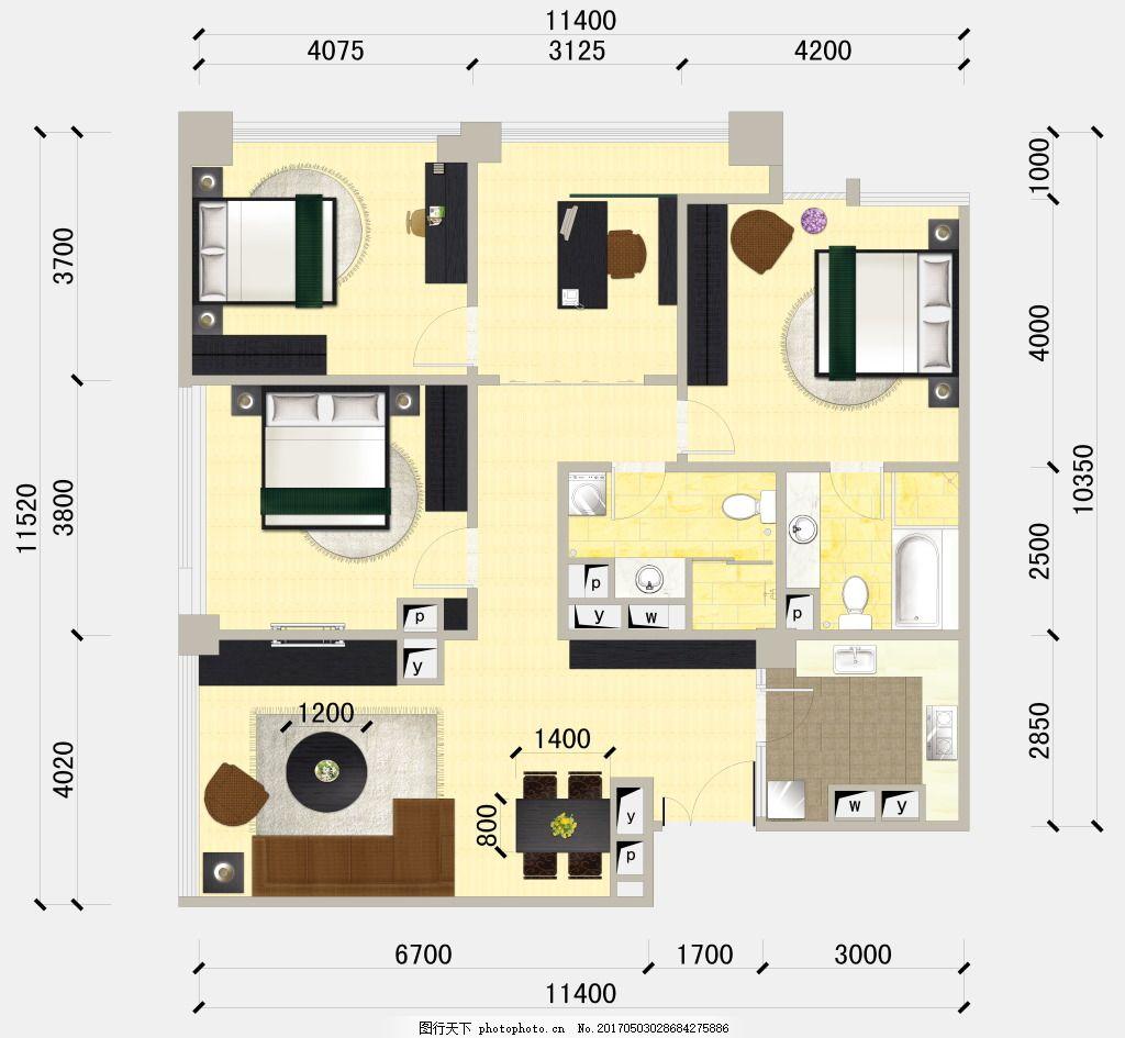 手绘室内布置户型图平面图