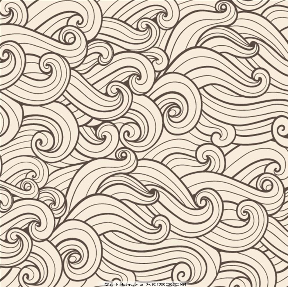 线条浪花背景 彩色花纹 矢量素材 花纹背景 欧式 广告设计素材