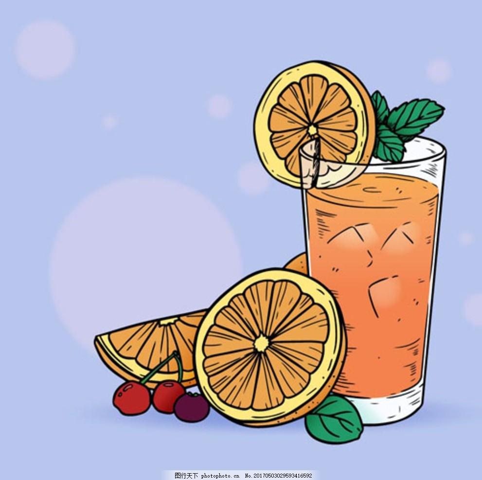 手绘樱桃薄荷橙汁
