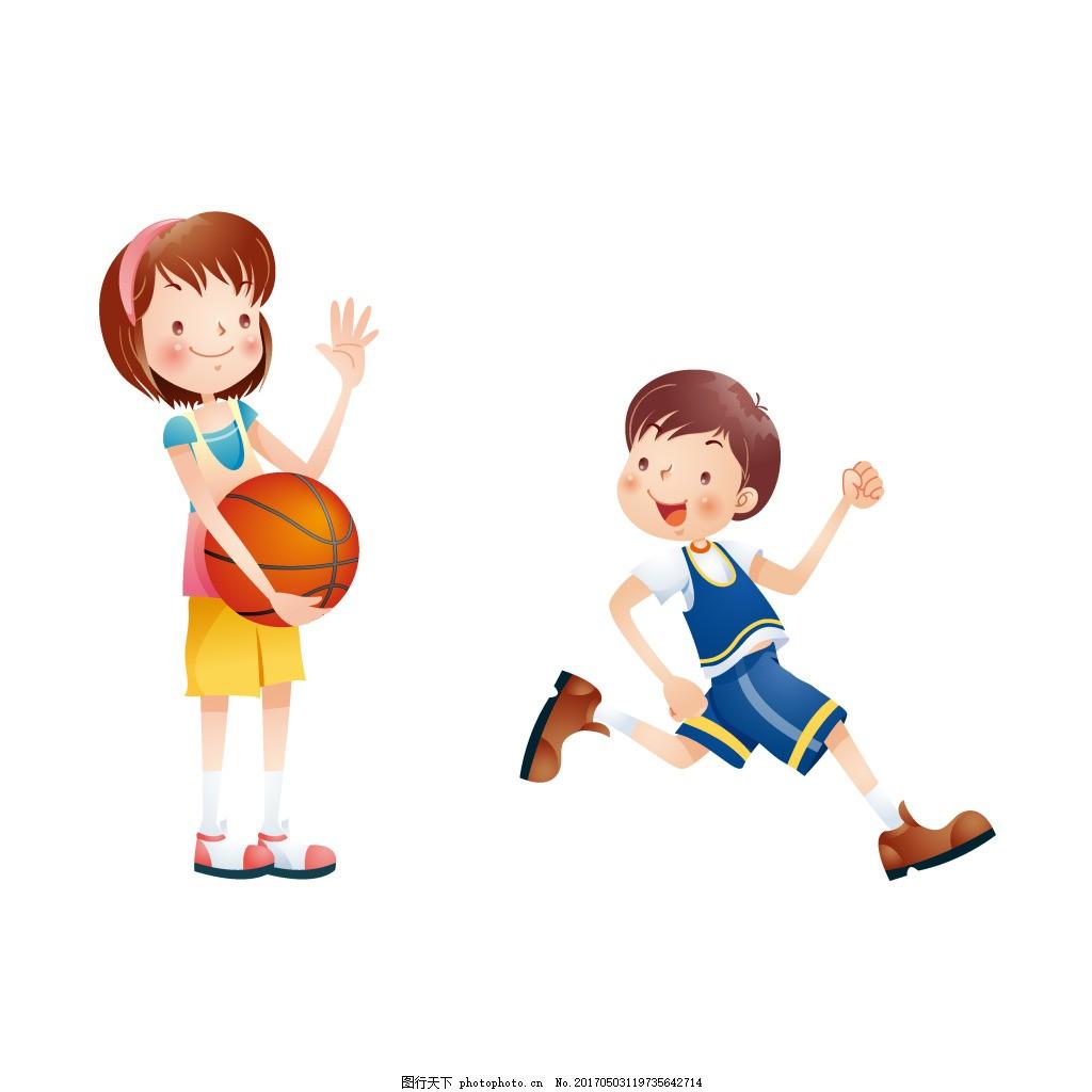 手绘卡通儿童篮球元素