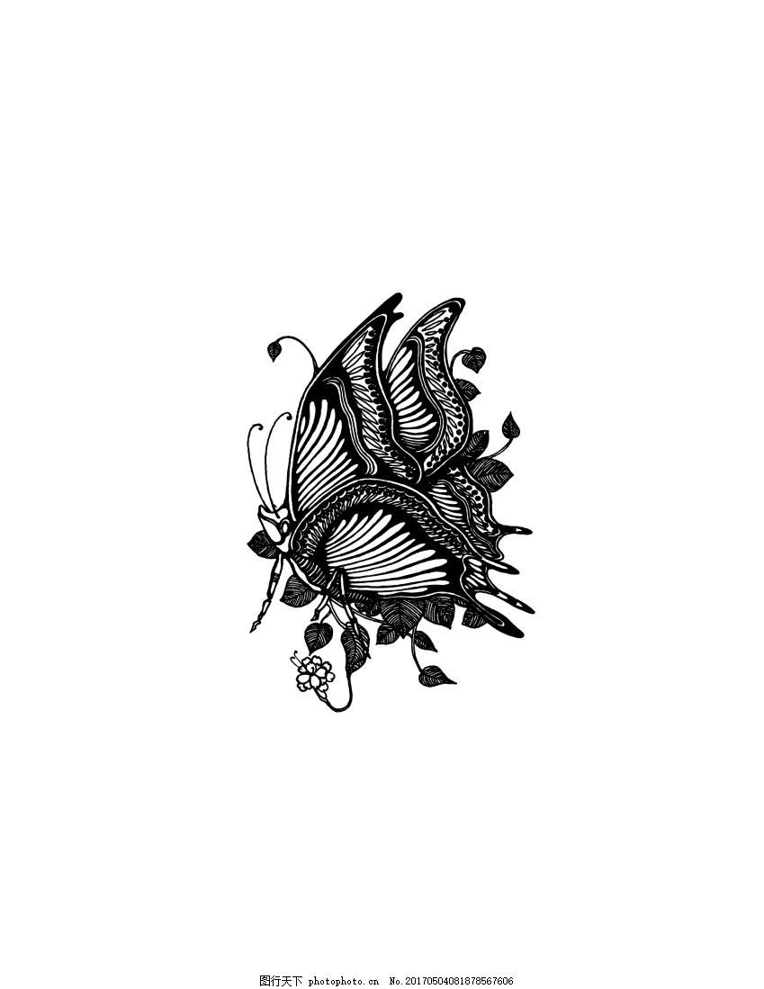 蝴蝶矢量图 纹身蝴蝶 蝴蝶侧面 黑白蝴蝶