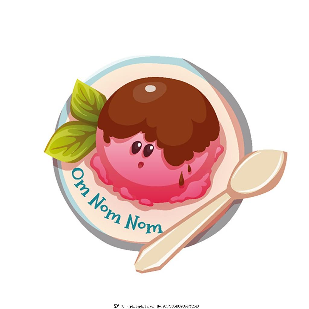 可爱卡通冰激凌球甜品