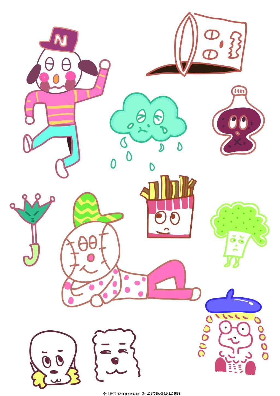 儿童插画 六一海报黑板报简笔画素材 美式儿童插画 可乐薯条棒球人