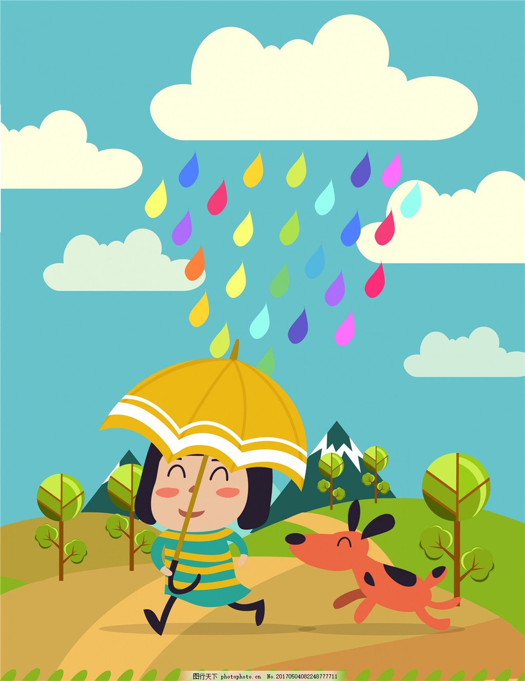 手绘儿童下雨插画