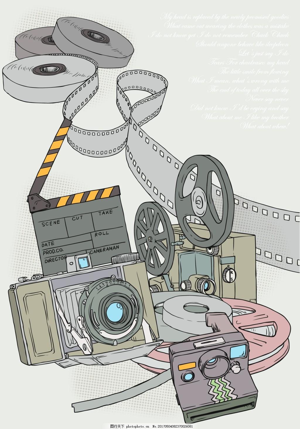 卡通相机电影放映机 卡通胶卷 场记板