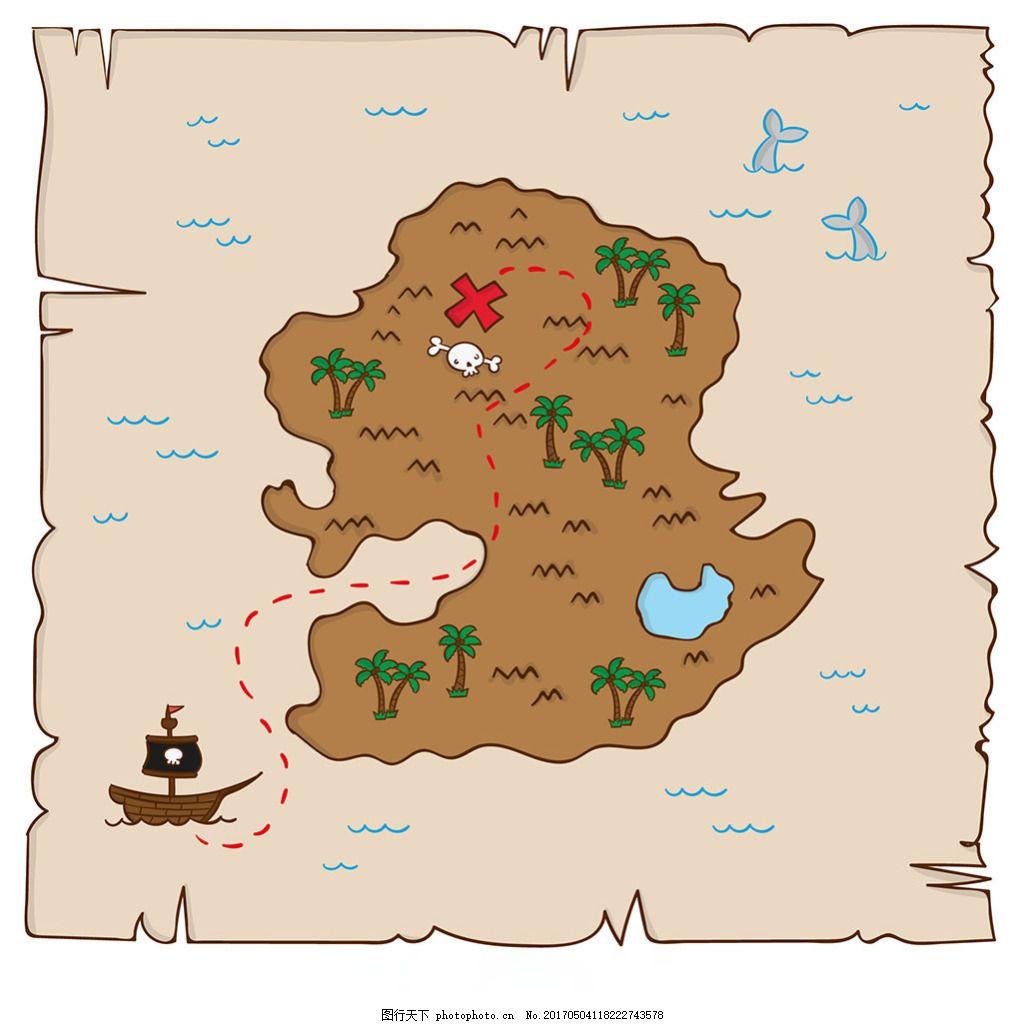 手绘海盗藏宝地图背景