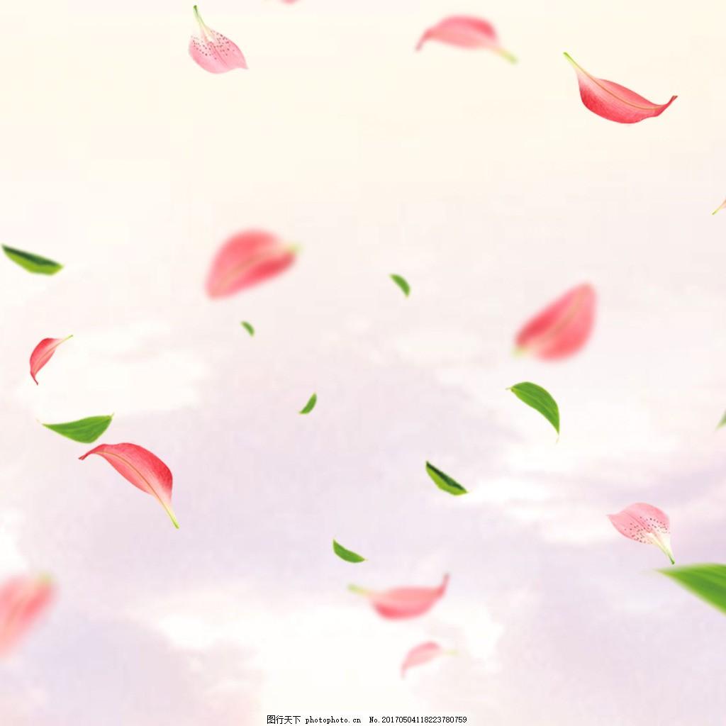 淡粉色飘落的花瓣掉落的树叶 风景 花卉 绿色 粉色背景 粉色花瓣图片