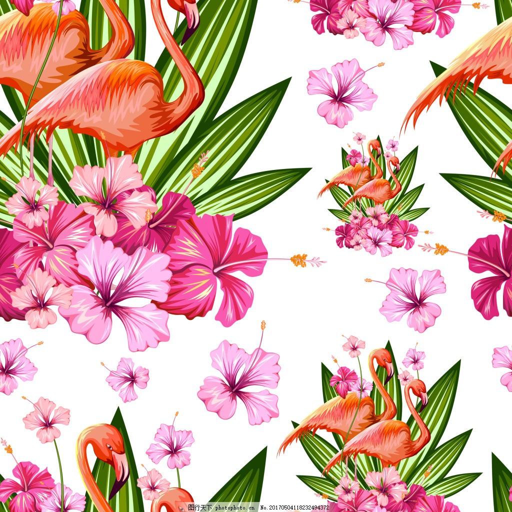 鸟鹦鹉和花朵纹理矢量素材 夏日 植物 花朵 叶子 卡通 火烈鸟 鹦鹉