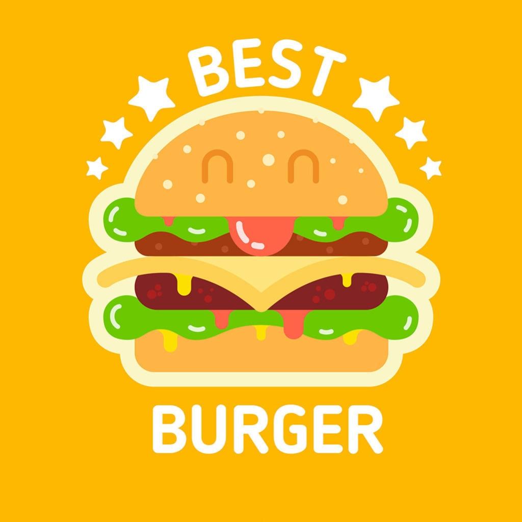 手绘彩色汉堡插图橙色背景