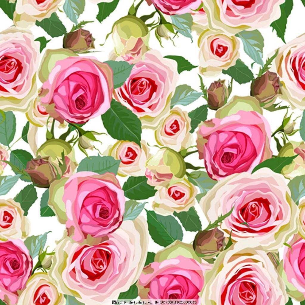 手绘玫瑰花背景素材 花朵 矢量背景