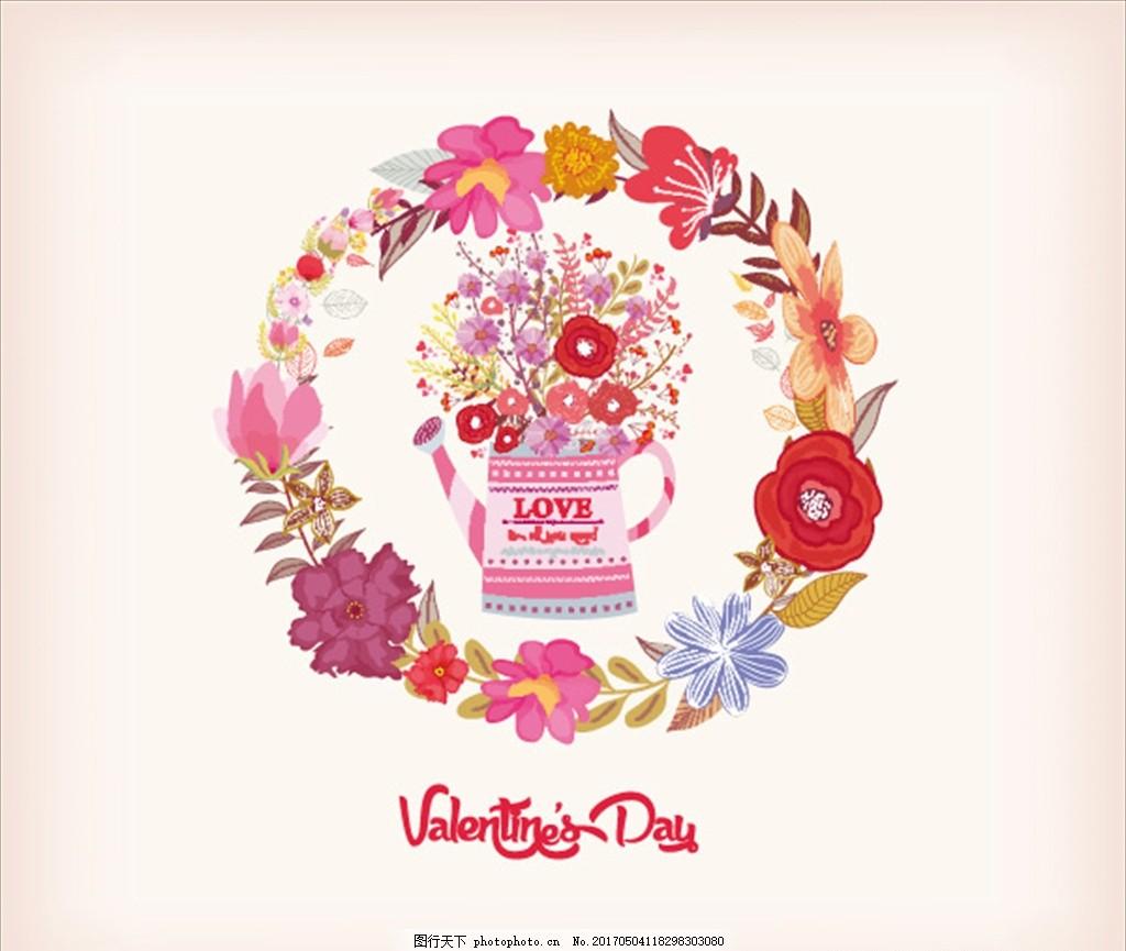 手绘插图 情人节 自行车 手绘单车 手绘花朵 鲜花 玫瑰花 红色花 篮子