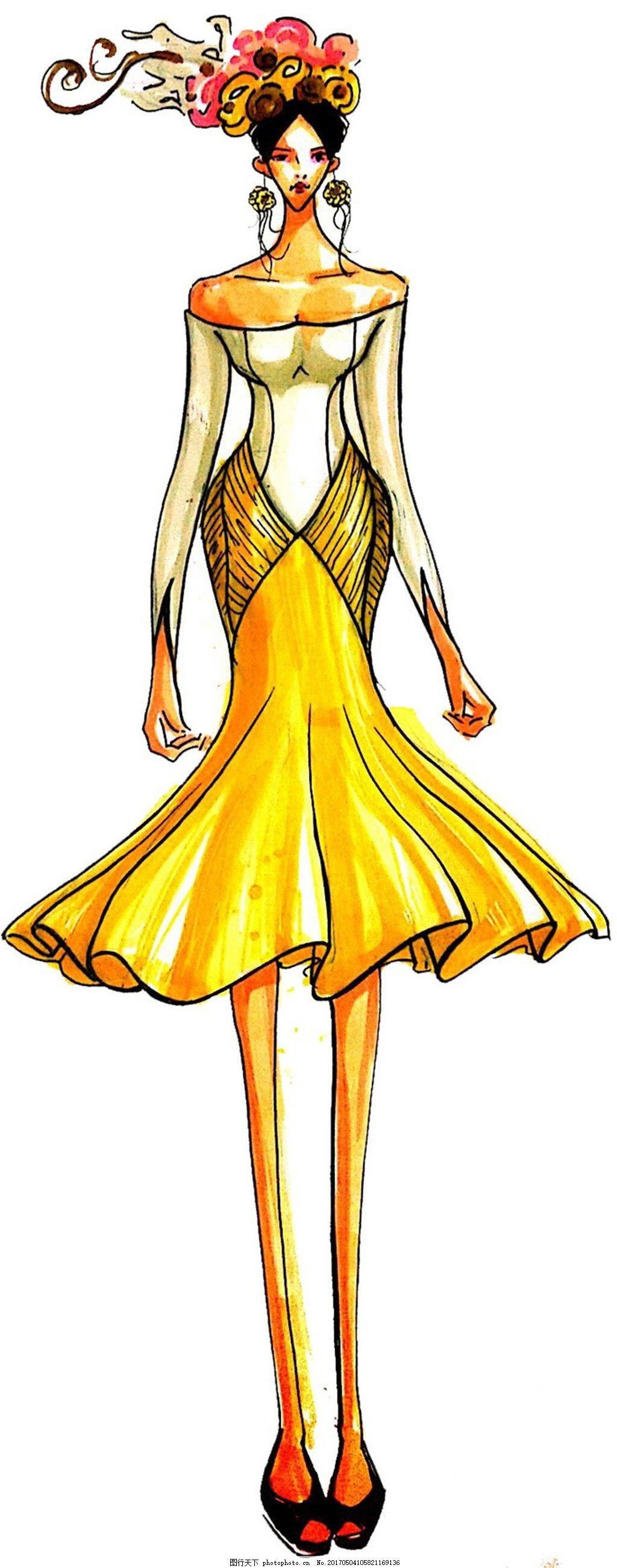 黄色抹胸鱼尾裙设计图