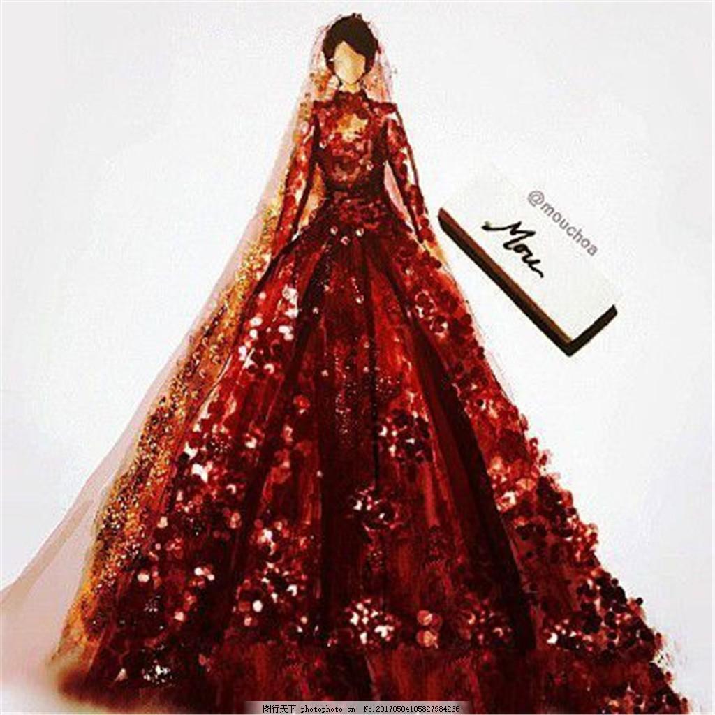 红色花纹礼服设计图