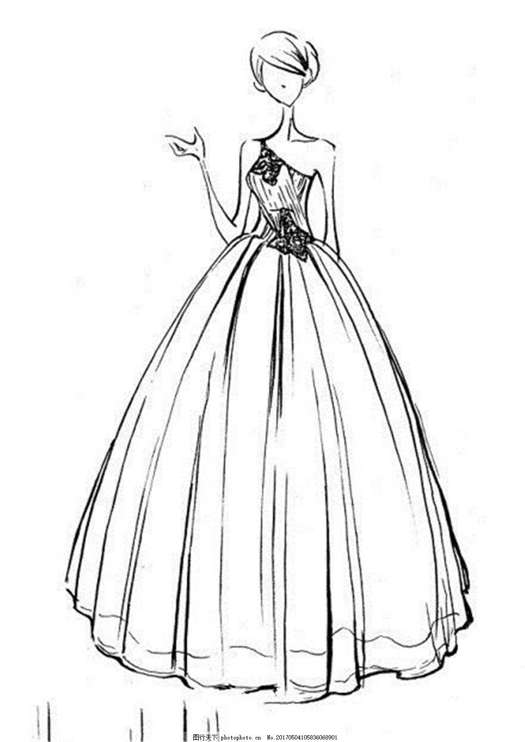 抹胸礼服设计图