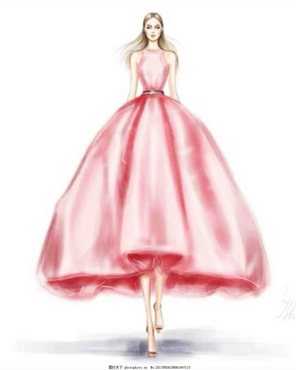 粉色时尚礼服设计图 时尚女装 职业女装 女装设计效果图 短裙 服装
