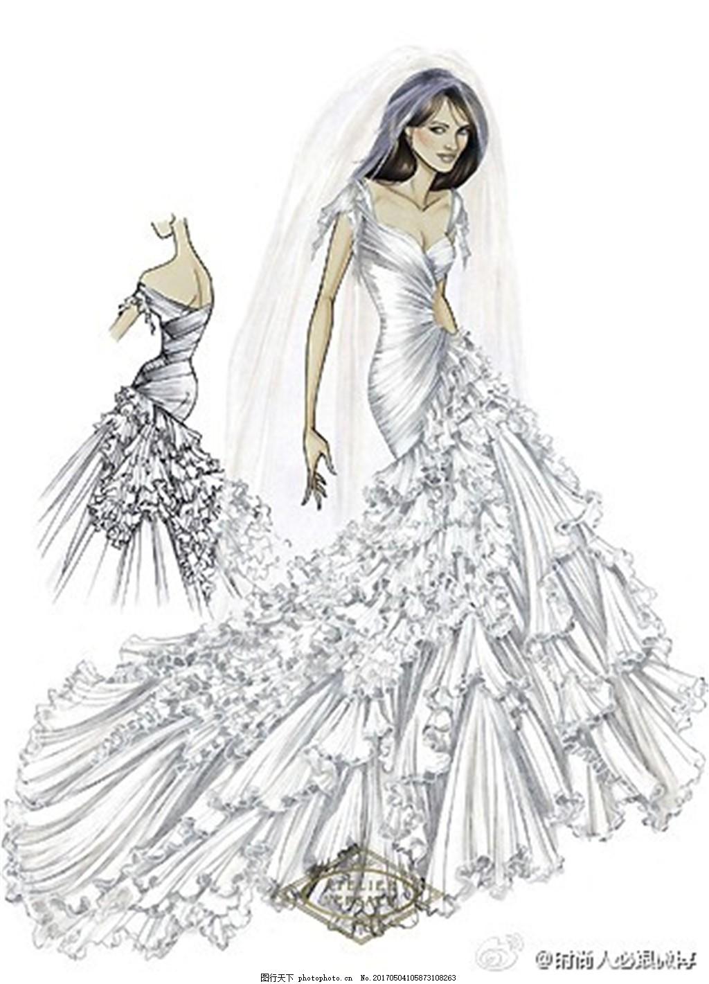 设计图库 现代科技 服装设计  时尚婚纱礼服设计图 服装设计 时尚女装