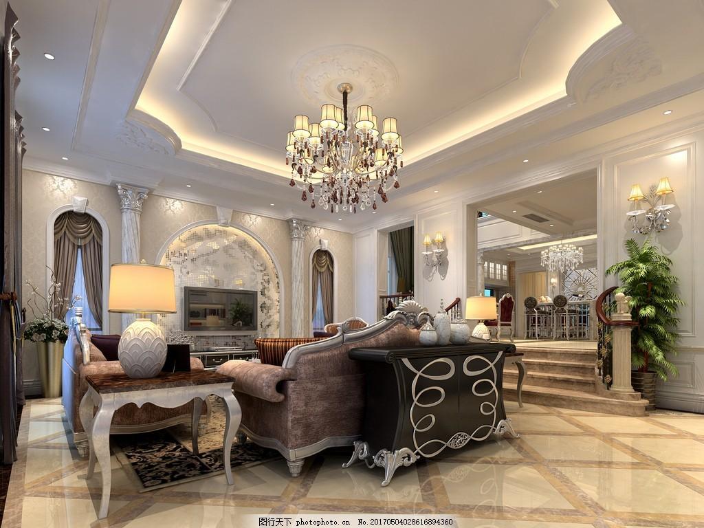 简约别墅客厅装修效果图 室内设计 家装效果图 现代装修效果图 室内