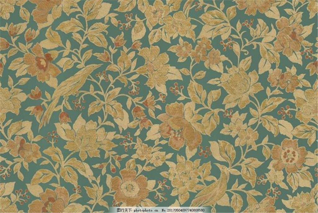 黄色花纹布艺壁纸图 中式花纹背景 壁纸素材 无缝壁纸素材 欧式花纹