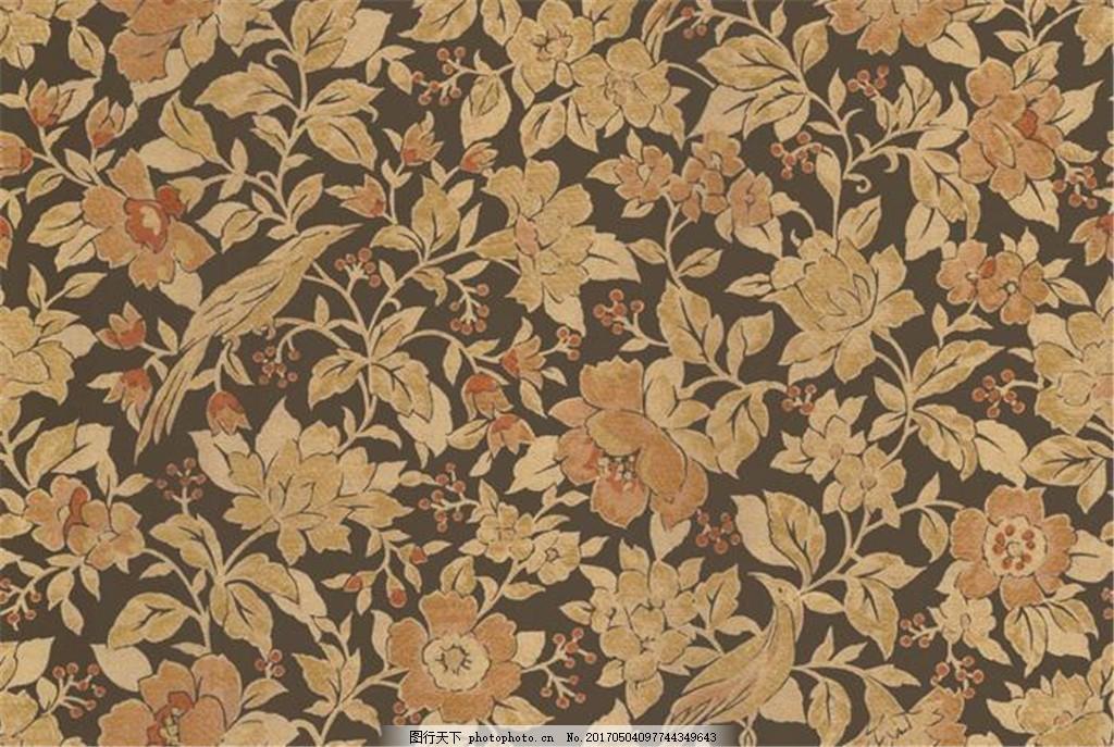 中式花纹背景 壁纸素材 无缝壁纸素材 欧式花纹 布艺壁纸 壁纸图片