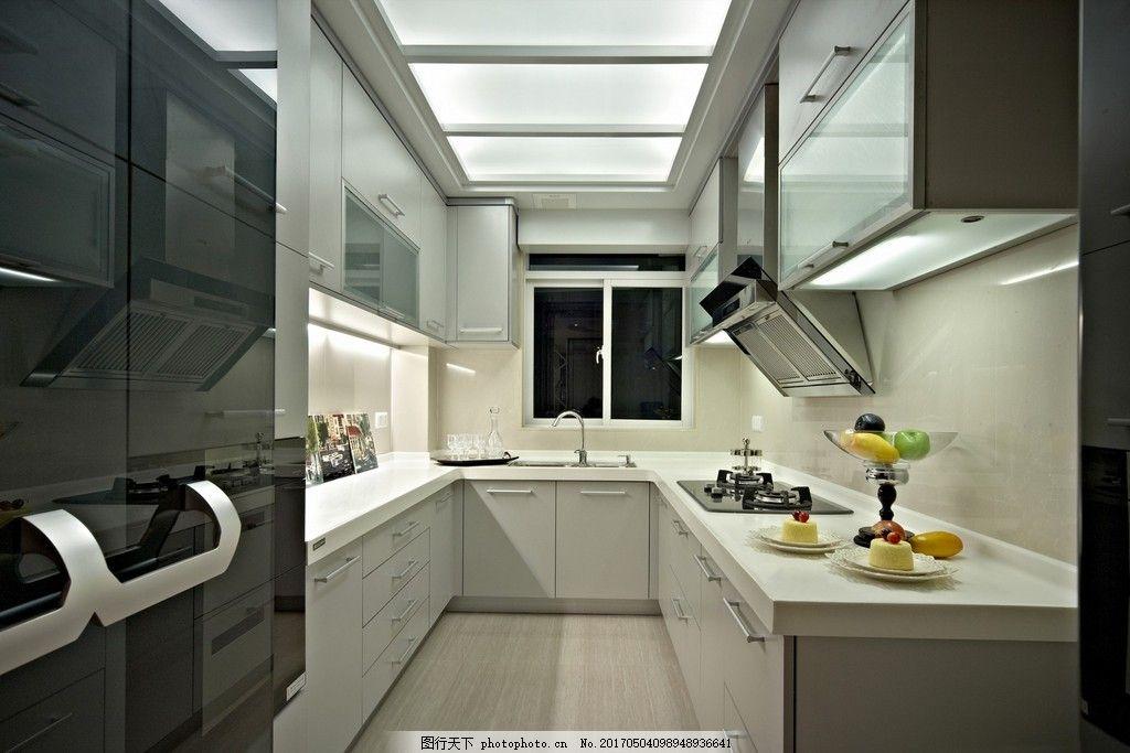 现代欧式厨房装修效果图 房屋装修设计效果图图片 室内装修 设计素材