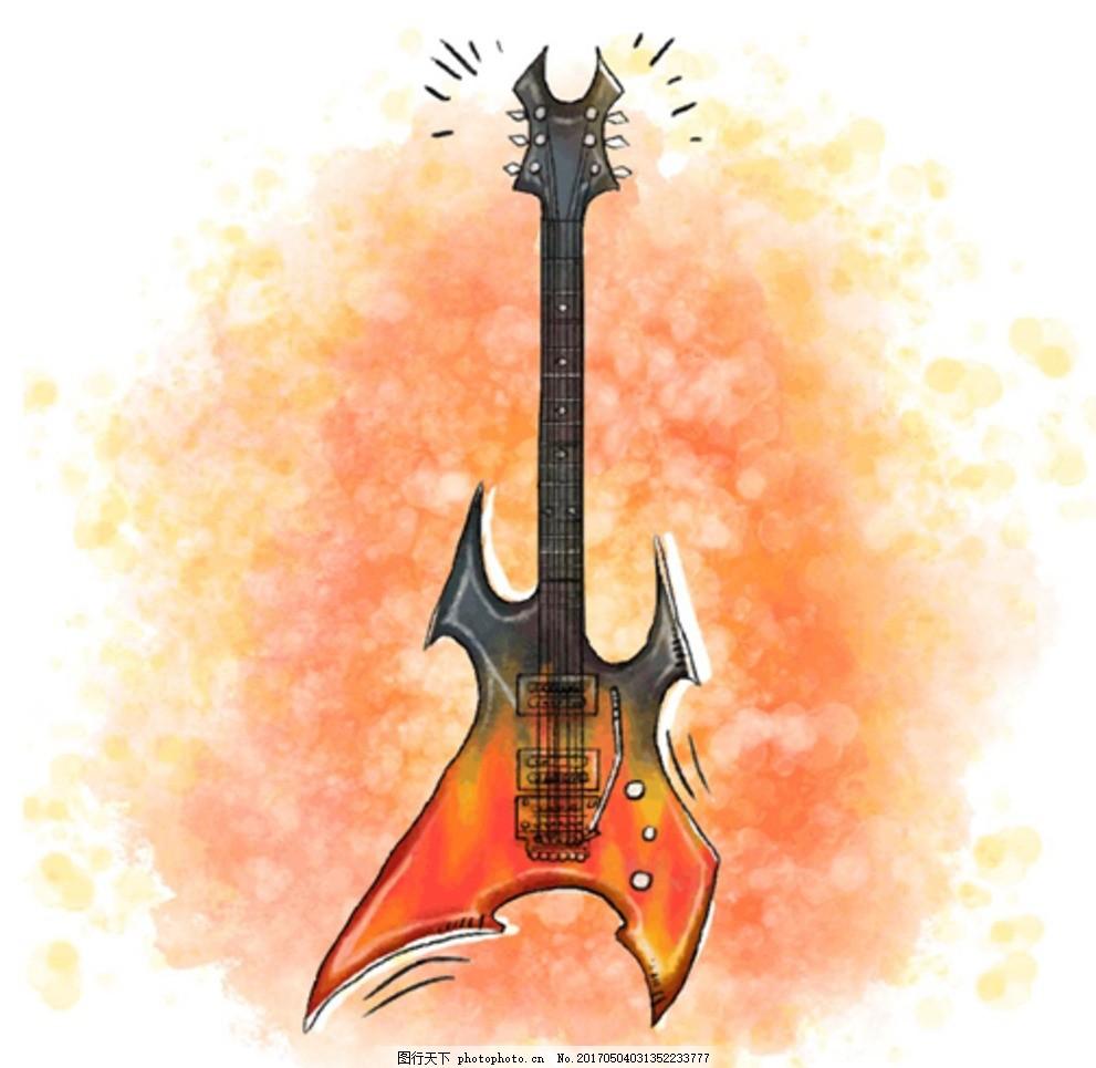 手绘水彩电吉他插图