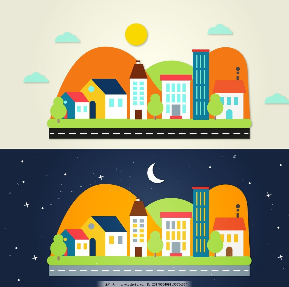 手绘彩色城市 建筑 平面 多彩 夜景 城镇 都市 有色 广告设计