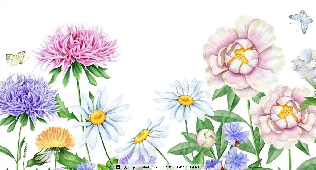 水彩共卉 花 森系 插画 手绘 水彩画 花卉素材 花卉插画 清新