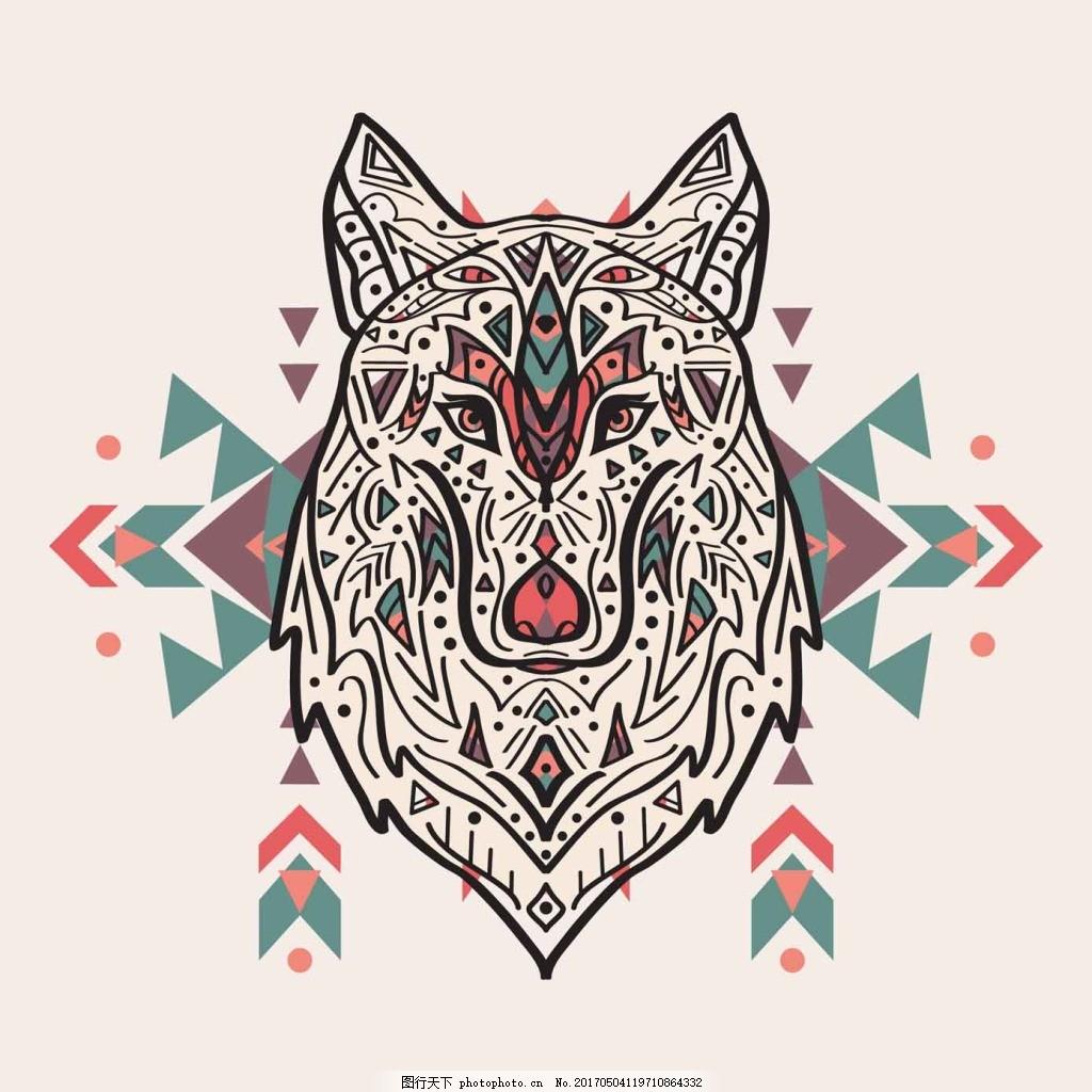 狼头装修图案 花朵 艺术 动物 图标