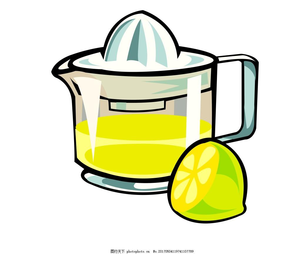 手绘冷饮柠檬eps