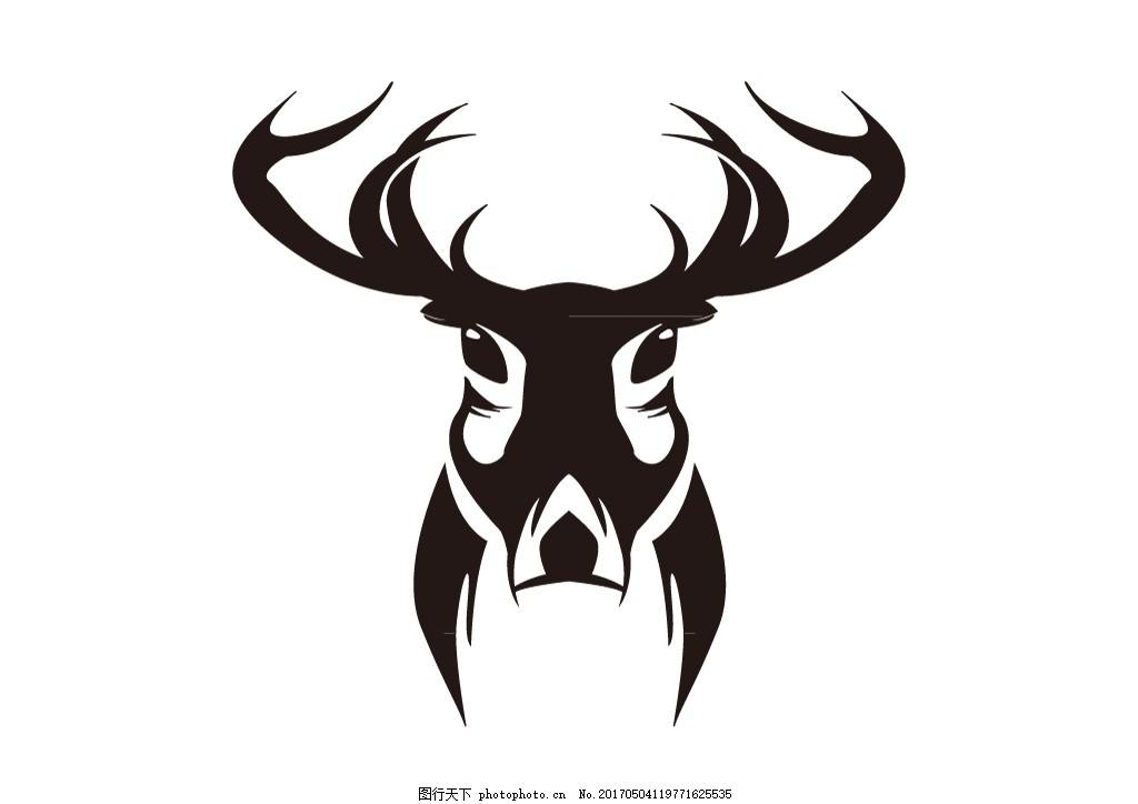 ai 矢量素材 印花绣花 服装素材 黑白矢量图 动物 剪影 雄鹿 对称图案