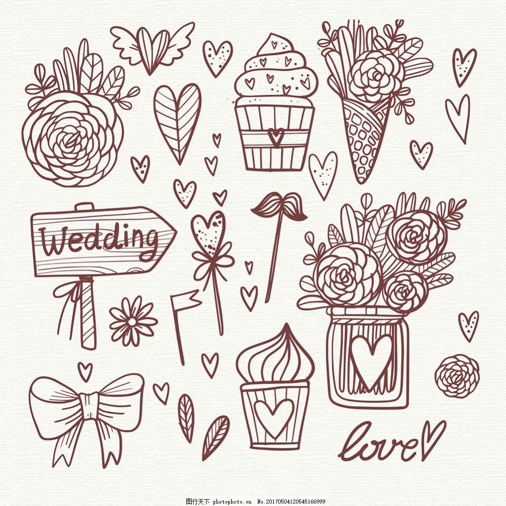 美丽的手绘线描风格婚礼元素插图 美丽的手绘 线描风格 婚礼元素 玫瑰
