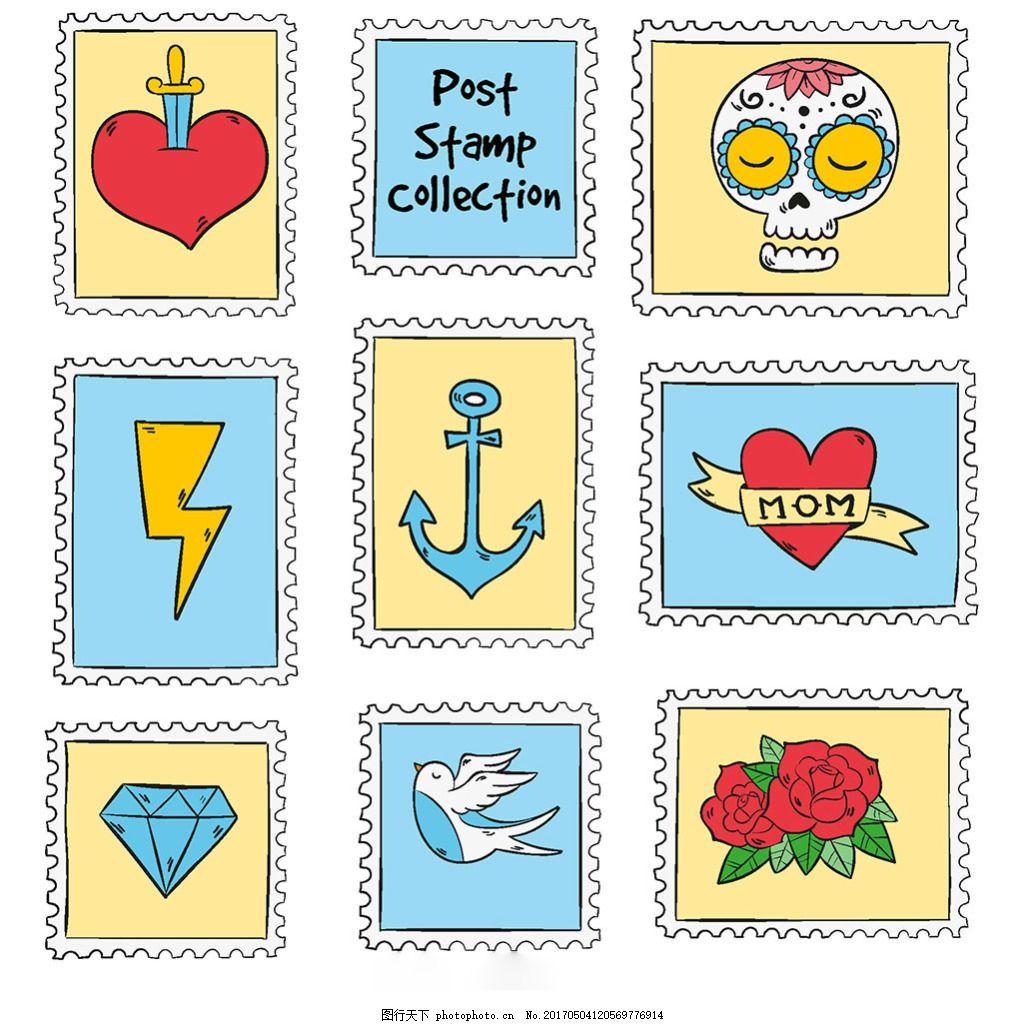 手绘创意邮票图标